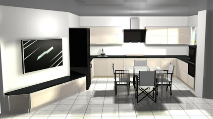 3D rendering interior design of kitchen-living room area with TV and dining area