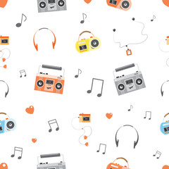 Vector seamless pattern with cartoon tape recorders, players and earphones.