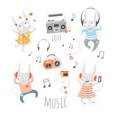 Cartoon musical set. Rabbits music lovers. Vector image.