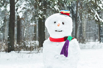 Festive winter three-ball snowman with smiley face and carrot nose