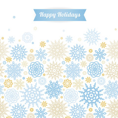 Vector seamless border with snowflakes.