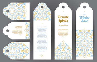 Vector set of ornate labels in Eastern style.