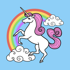 Cartoon unicorn with rainbow and clouds.