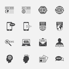 news symbol icons set.