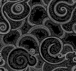 Abstract vector seamless pattern with ornament of curling lines and figured shapes