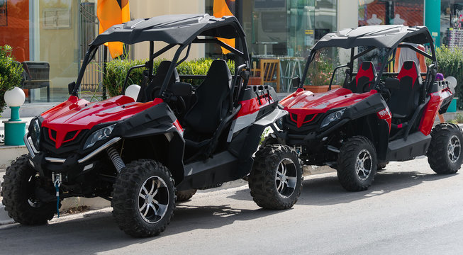 All-terrain vehicle rent on the street.