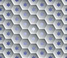 Seamless abstract honeycomb  background - hexagons. Each cell hole in a six-pointed star. Background with gradient fill. Color gray with shadows. Vector illustration EPS10.
