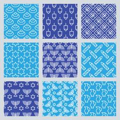 Seamless pattern for Jewish holiday Hanukkah. Vector illustratio
