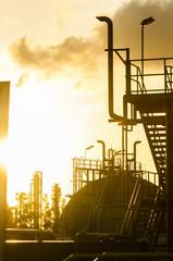 petrochemical plant in sunrise