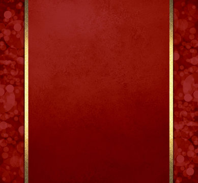 luxury red Christmas background with gold ribbon stripes and bokeh lights pattern sidebars, elegant formal background layout with rich fancy textures and design