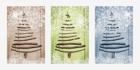 Christmas trees made of wooden branches. Snowy triptych in brown, green and blue. Wall mural