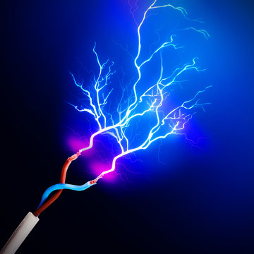 Electric cables with glowing electricity lightning, close up