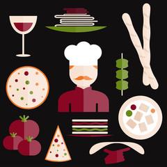 flat design italian cuisine elements and chef
