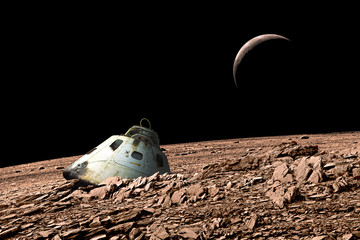 A harsh alien landscape is the crash site of a space capsule. - Elements of this image furnished by NASA.
