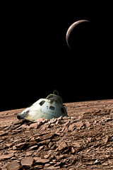 Fototapete - A harsh alien landscape is the crash site of a space capsule. - Elements of this image furnished by NASA.