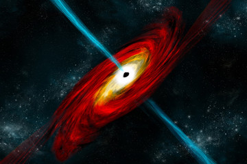 A black hole in deep space pulls in matter