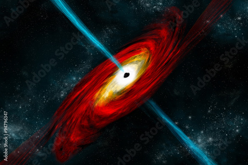 Wall mural A black hole in deep space pulls in matter