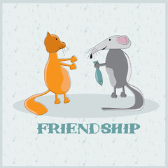 rat giving to a cat fish cartoon illustration