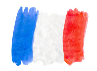 Flag of France painted watercolor