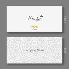 Elegant Gift Voucher Template With Damask Pattern.