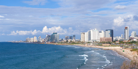 Panoramic view of the city of Tel Aviv and the Mediterranean sea