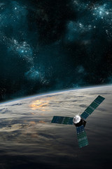 Fototapete - A satellite orbits Earth - Elements of this image furnished by NASA.
