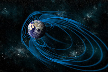 The Magnetosphere that Surrounds the planet Earth - Elements of this image furnished by NASA.