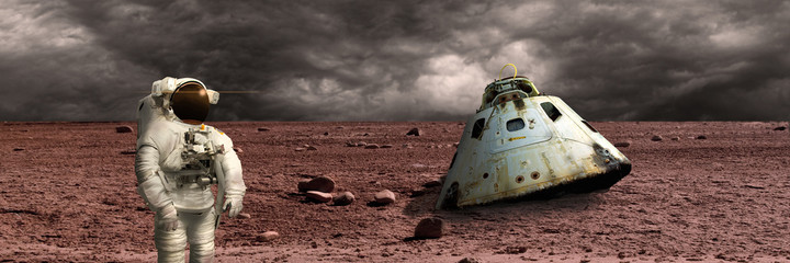 Wall Mural - A marooned astronaut surveys his situation - Elements of this image furnished by NASA.