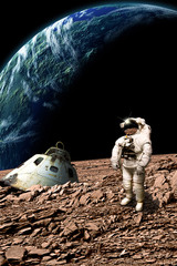 A stranded astronaut surveys his situation - Elements of this image furnished by NASA.
