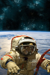 Fototapete - A cosmonaut floats in space. - Elements of this image furnished by NASA.