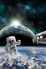 Fototapete - A team of astronauts work on a space station - Elements of this image furnished by NASA.