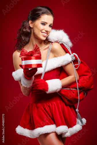 beautiful sexy girl wearing santa claus clothes with. Black Bedroom Furniture Sets. Home Design Ideas