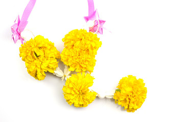 marigold with ribbon on white background, for pray