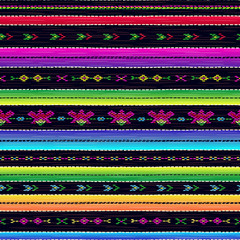 Seamless ethnic mexican fabric pattern with colorful stripes. Repeat straight blue, black, red, green, yellow, violet stripes texture background, vector.