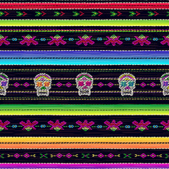 Seamless ethnic mexican fabric pattern with colorful stripes and Catrina`s skull. Repeat straight stripes texture background, vector. Day of the Dead holiday.