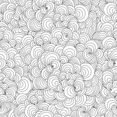Abstract doodle wavy seamless pattern. Hand-drawn black and white background.