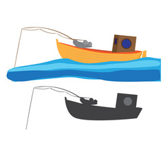 vector illustration of fishing boat with fishing rod