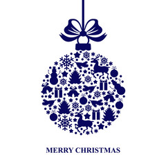 Christmas card with decorative blue ball