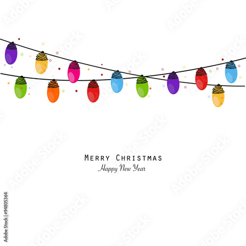 Colorful christmas light bulb happy new year greeting card vector colorful christmas light bulb happy new year greeting card vector m4hsunfo