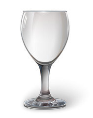 Glass wine glass. A realistic, transparent, vector.
