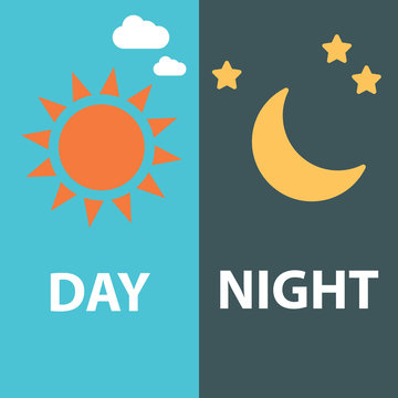 Day and night flat, vector symbols