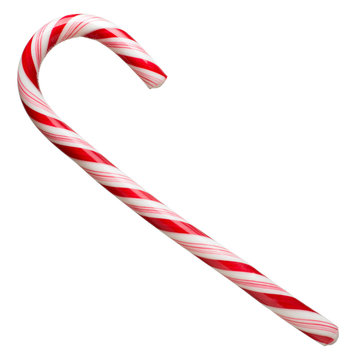Mint hard candy cane striped in Christmas colours isolated on a white background. Closeup