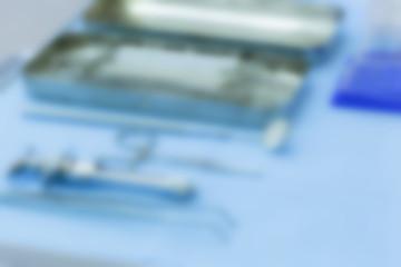 Set of dentistry medical tools, blurred