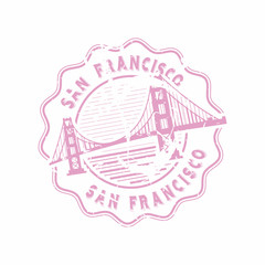 Vector San Francisco Rubber bottle cap stamp