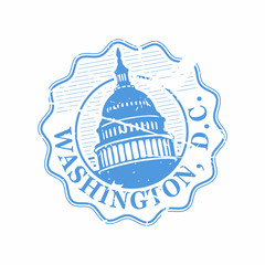 Vector Washington DC Rubber bottle cap stamp