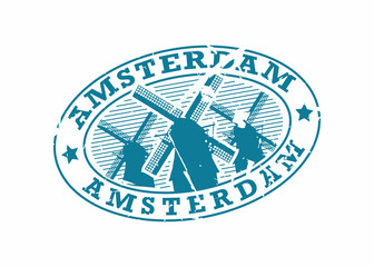 Vector Amsterdam Rubber oval mail stamp