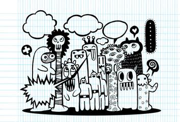 Hand Drawn Monsters and cute alien friendly cartoon