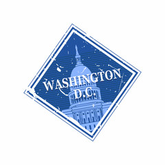 Vector Washington DC Rubber Diamond Mail stamp