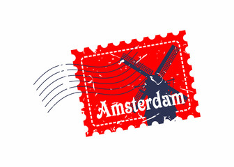 Vector Amsterdam Rubber mail stamp