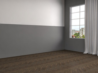 white interior with large window. 3d illustration